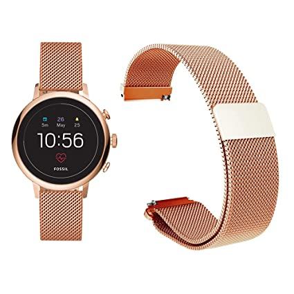 9f949f987 Diruite for Fossil Q Venture HR Band, 18mm Milanese Magnetic Stainless Steel  Replacement Strap Band