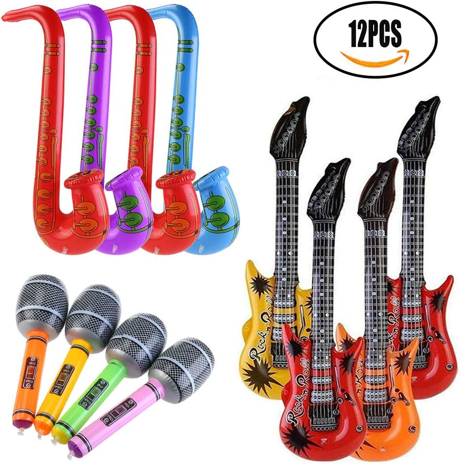 SMUER Inflables Guitarra Saxofón Micrófono Globos Instrumentos ...