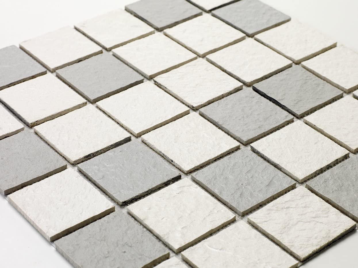 Mosaico de Resine, imitación piedra azulejo 30 x 30 cm – 5 x 5 cm Mixta Color Blanco y Gris claro: Amazon.es: Bricolaje y herramientas