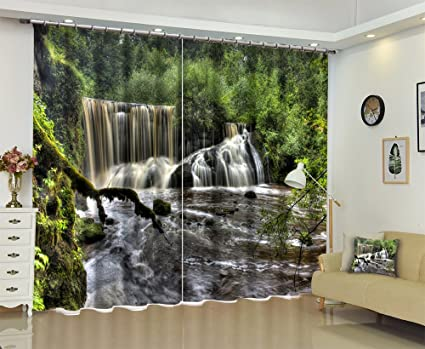 LB Nature Scenery Window Curtains For Bedroom Living Room,Waterfall In The  Forest Kids Room