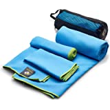 OlimpiaFit Microfiber Towel - Quick Dry (3 Size Pack) - Camping, Sports, Beach, Backpacking, Gym, Travel Towels w/ Bag…