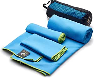 OlimpiaFit Microfiber Towels - Quick Dry (3 Size Pack) - Camping, Sports, Beach, Backpacking, Yoga, Gym, Travel Towel w/ Bag - Soft, Compact, Lightweight