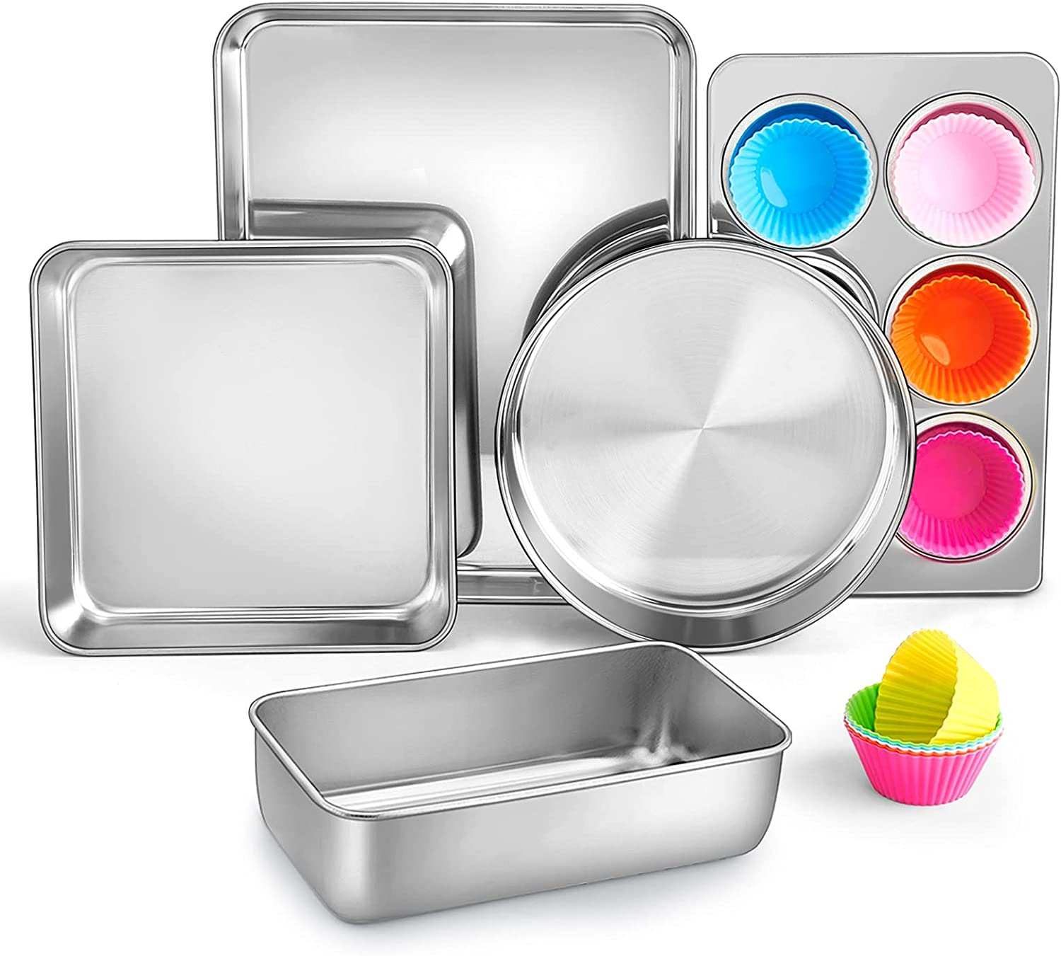TeamFar Bakeware Set, 17 PCS (5 Pans + 12 Cups), Stainless Steel Toaster Oven Baking Pans with Silicone Cups, Loaf Pan & Muffin Pan, Non-Toxic & Heavy Duty, Reusable & Easy Clean