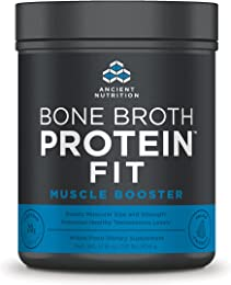 Ancient Nutrition Bone Broth Protein FIT Muscle Booster, 20 Servings Size, Boosts Muscle Size and Strength