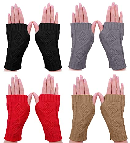 Fingerless Gloves, 4 Pairs Black Crochet Fingerless Gloves ...