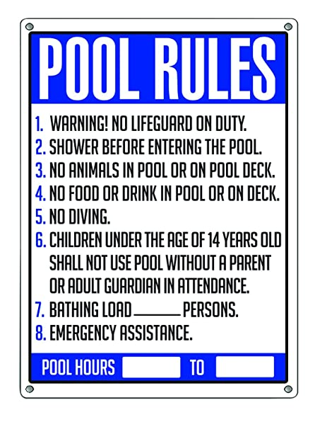 Poolmaster Sign for Residential or Commercial Swimming Pools, General  Commercial Pool Rules