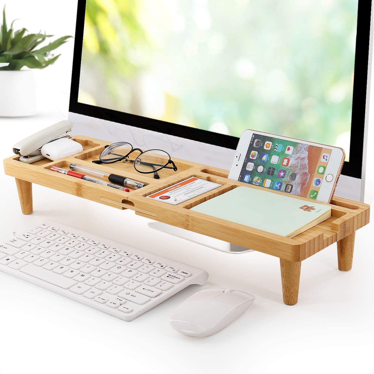 Bamboo Desk Organizer Tray for Saving Space, Office Desktop Small Objects  Storage Holder Hide Keyboard Wood Shelf for Phone, Tablet, Glasses, Pen,  and