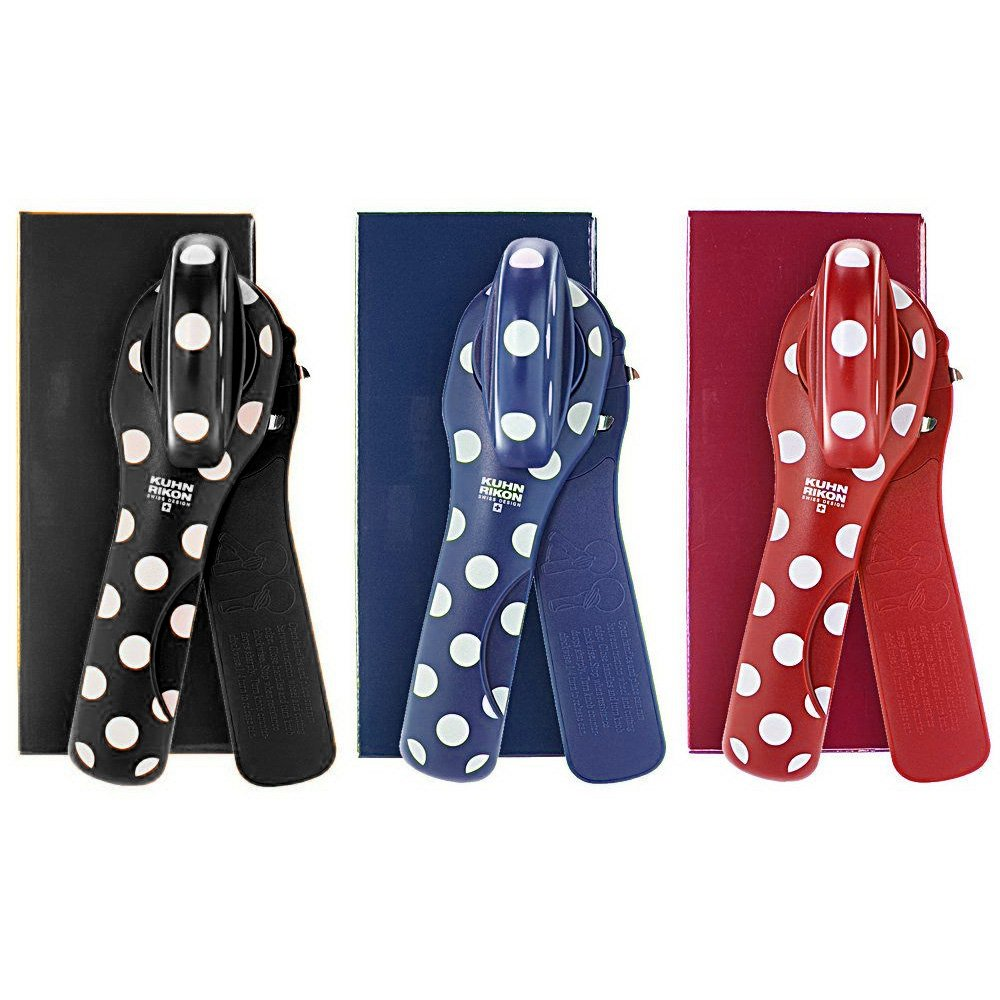 Kuhn Rikon Set of 3 Polka Dot Can Openers with Gift Boxes, Black, Red, Blue by Kuhn Rikon