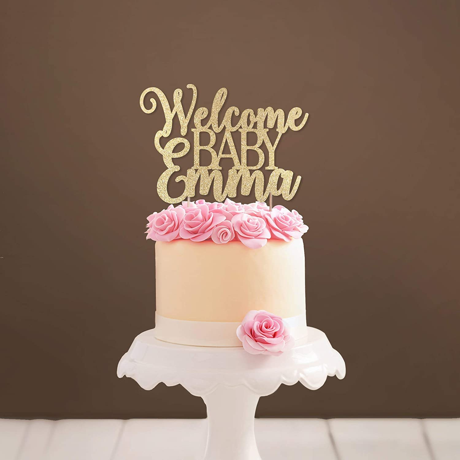 Custom Welcome Baby Cake Topper Glittery Baby Shower Cake Topper Girl Baby Shower Party Decoration Baby Boy Shower Cake Topper Amazon Co Uk Handmade