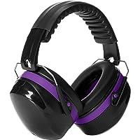 AmazonBasics Noise Reduction Safety Earmuffs Ear Protection, Black and Purple