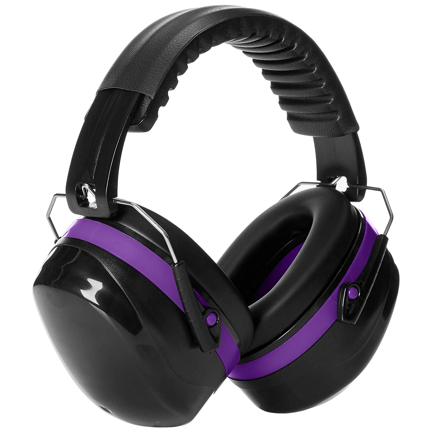 AmazonBasics Noise Reduction Safety Earmuffs Ear Protection, Black and Purple