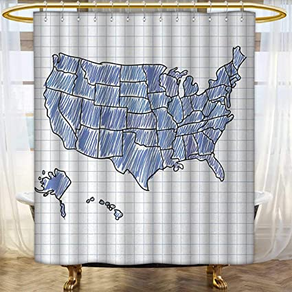 Anhounine Map Shower Curtains Fabric Hand Drawn US Sketchy Display Doodle Cartography Notebook Educational Patterned