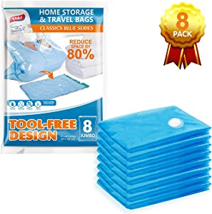 TAILI Vacuum Storage Space Saver Bags Jumbo Vacuum Sealer Bags for Clothes King-Size Bedding Comforter Duvets Quilts Pillows-No Pump No Cap 80% Space Saving Design-4 Jumbo Pack 39.4x47.24in