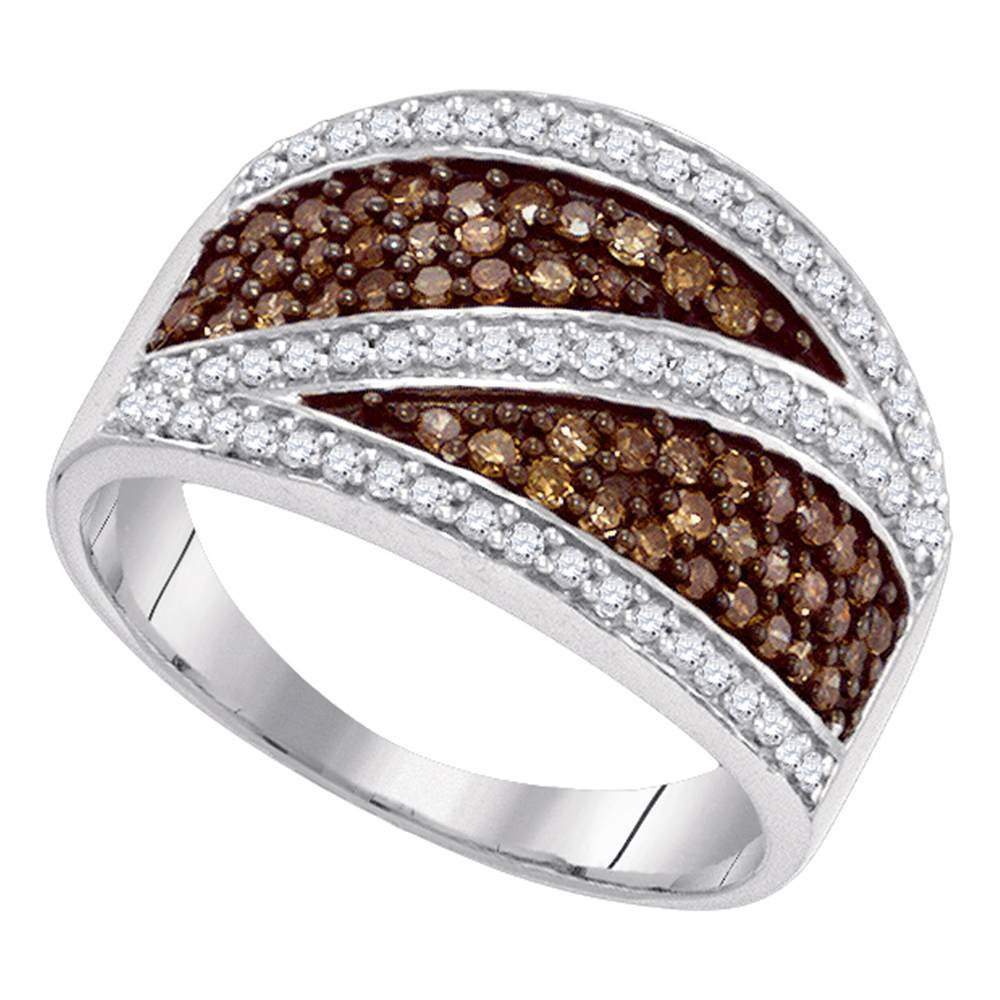 Brown Diamond Cocktail Band Solid 10k White Gold Fashion Ring Chocolate Cluster Style Tapered 3/4 ctw by GemApex