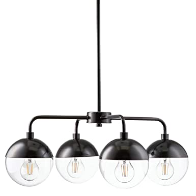 Novara 4 Light Modern Chandelier – Dark Bronze w LED Bulbs – Linea di Liara CH16-6DB-LED