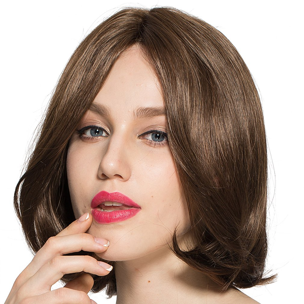 Namecute Long Brown BOB Wigs Top Hand-Tied Lace Front Wig Brown Hair Replacement Wigs with Center Parting + Free Wig Cap Mos M16540MF-#2612