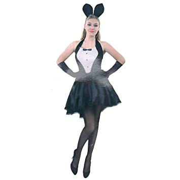 838c5684622 Black Bunny Girl Playboy Style Ladies Fancy Dress Costume Large