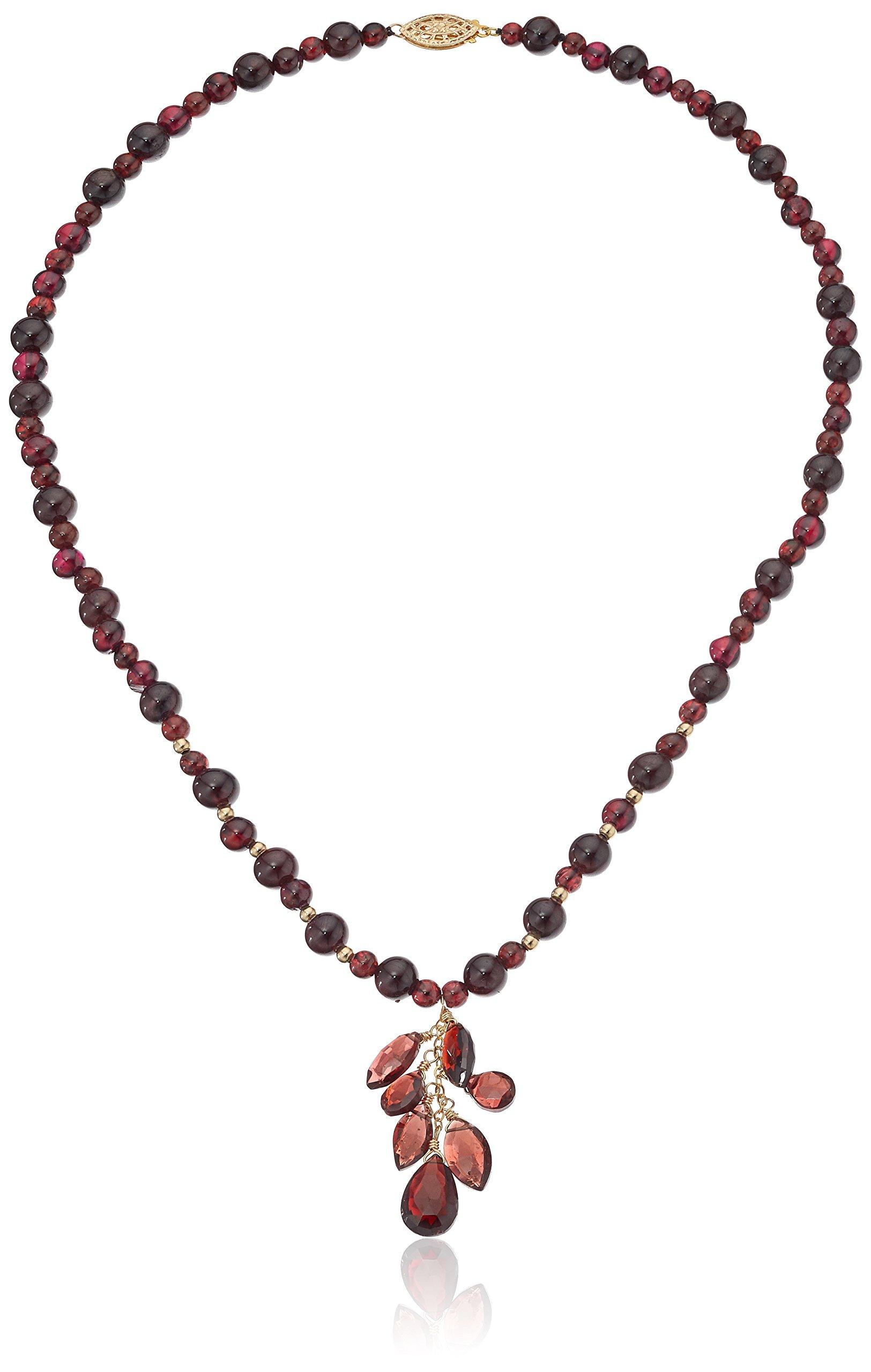 Handmade Beaded Garnet with Multi-Navette and Teardrop Center Shower Strand Necklace, 16''