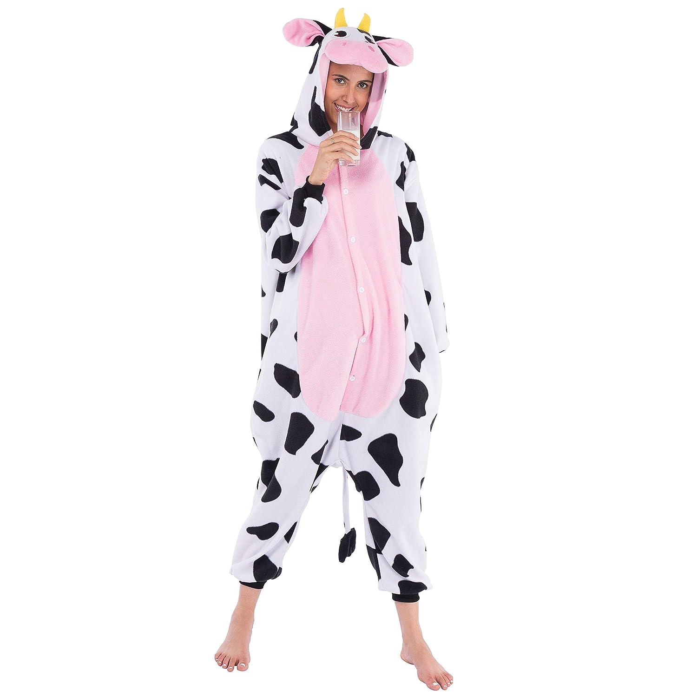 Spooktacular Creations Unisex Adult Pajama Plush Onesie Kigurumi One Piece Cow Animal Costume