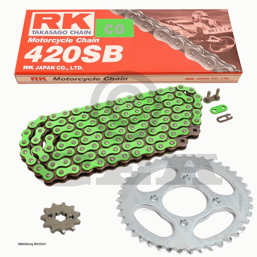 Catena Moto Kawasaki KX 80 R/T 91 –  97, catena RK CG 420 SB 118, aperto, Verde, 13/49 catena RK CG 420SB 118 RK JAPAN Co. Ltd.