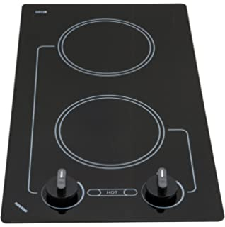 208-volt Kenyon B41591 6-1/2 and 8-Inch Mediterranean 2-Burner Cooktop with Analog Control UL Black