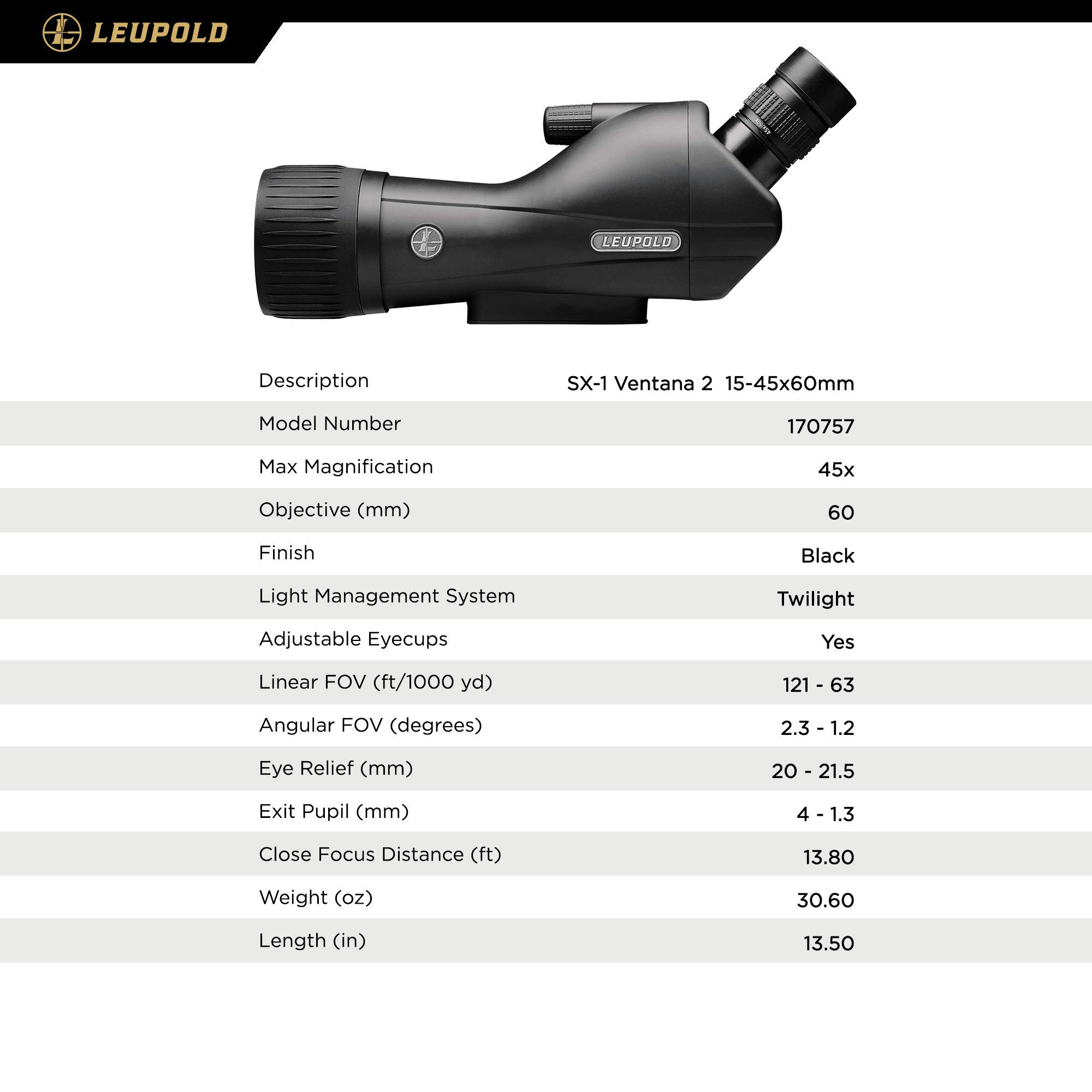 Leupold SX-1 Ventana 2 15-45x60mm Angled Spotting Scope, Black Finish by Leupold (Image #4)