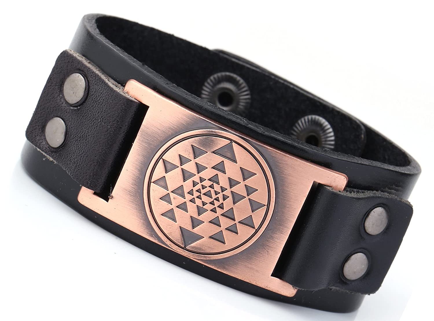 Sacred Geometry Mandala Sri Yantra Buddhism Wristband Leather Bracelet Black) YI WU KE JI