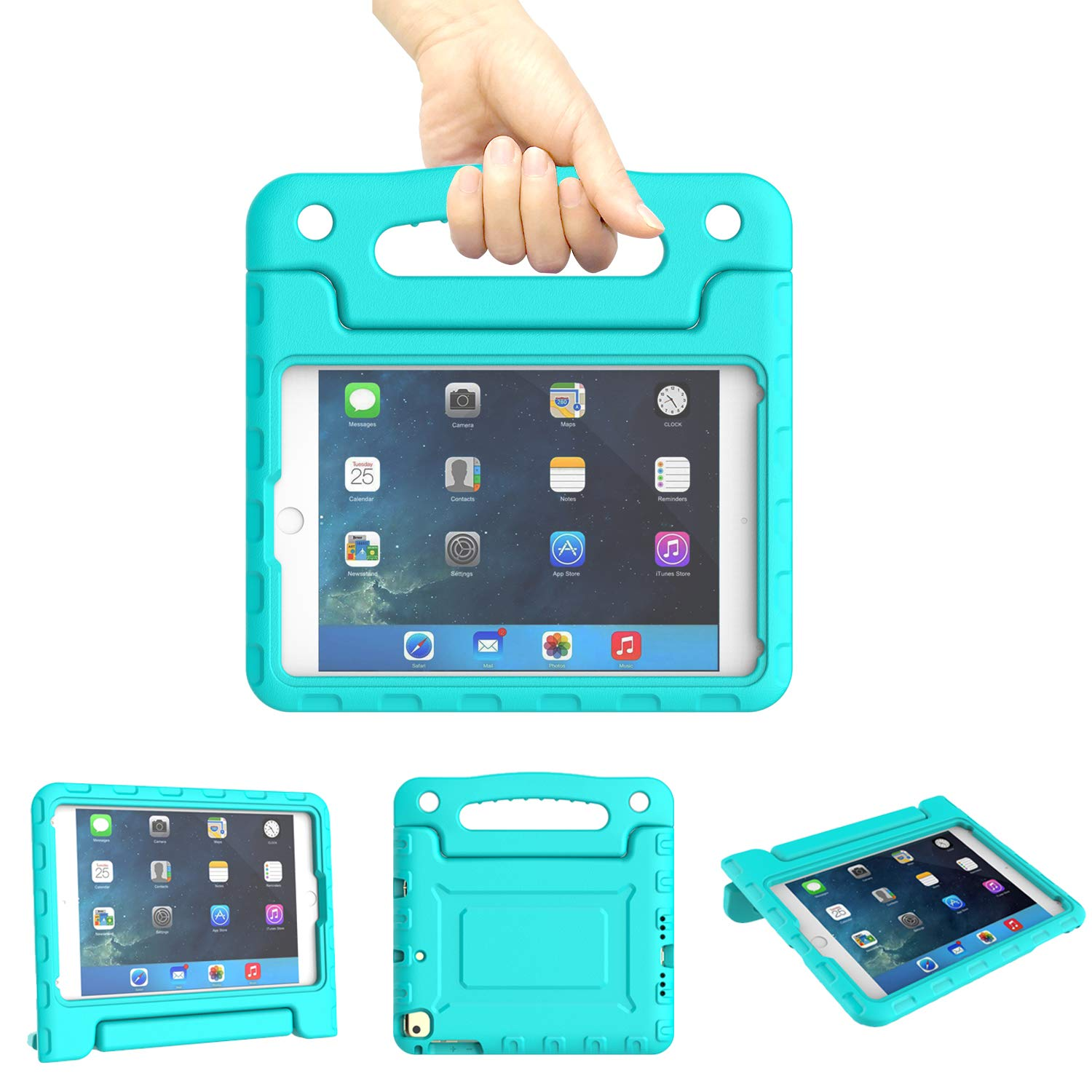 Kids Case for iPad Mini 1 2 3 4 5 Generation - Light Weight Shockproof Convertible Protection Cover with Built-in Handle Stand Children Tablet and 2019 - Retina Display (Turquoise)