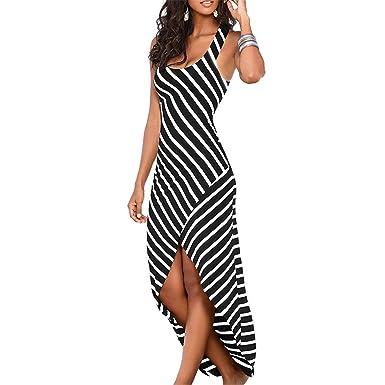AUUOCC Female Striped Long Maxi Dress Tunic Boho Dress Robe Vestidos Black S