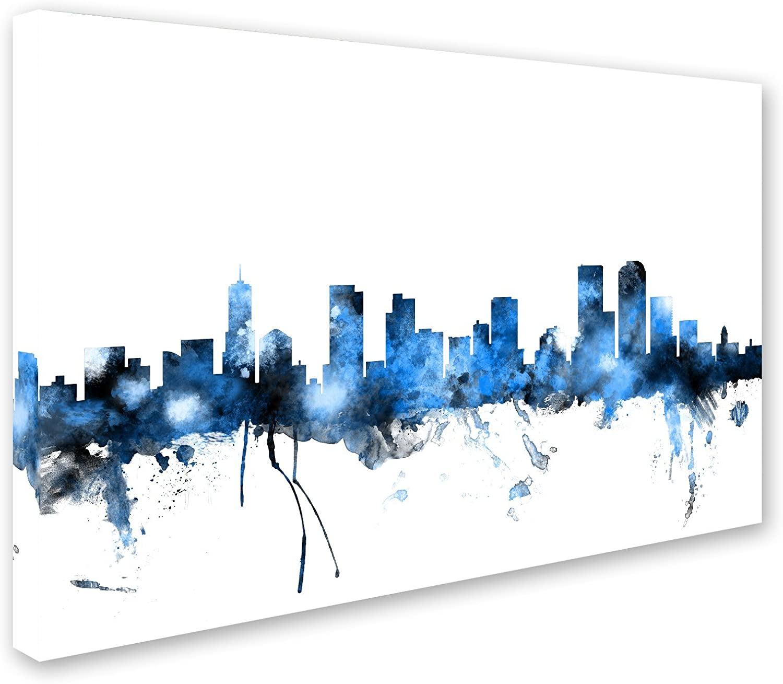 Denver Colorado Skyline Ii By Michael Tompsett 22x32 Inch Canvas Wall Art Posters Prints