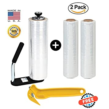 Claro plástico Film elástico, fuerza Industrial con movimiento y papel de embalaje, 2 Pack