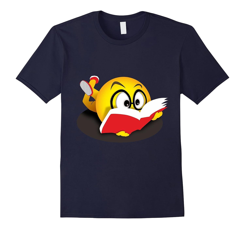 Nerdy Reading Emoji Funny T-Shirt Cute Book Lover Gift-FL