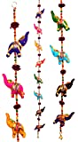 Door Hanging Decorative Cotton Elephants in Vibrant Color Stringed with Beads and Brass Bell by Super India
