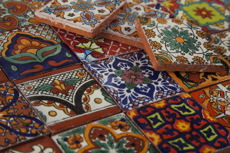 Cerames Azulejos decorativos de colores de la pared mexicano para cuarto de ba/ño y cocina 5x5 cm 120 piezas por paquete Caliente dise/ño de mosaico