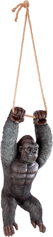 Design Toscano Swinging Ape Jungle Monster Hanging Gorilla Sculpture, 24 Inches, Full Color