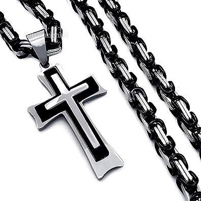 Amazon.com: Nuevo diseño acero inoxidable cadena bizantina ...