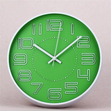 Maivasyy 12 Pulgadas Tridimensional Redondo de plástico Reloj Digital de Cuarzo Blanco Reloj de Pared del