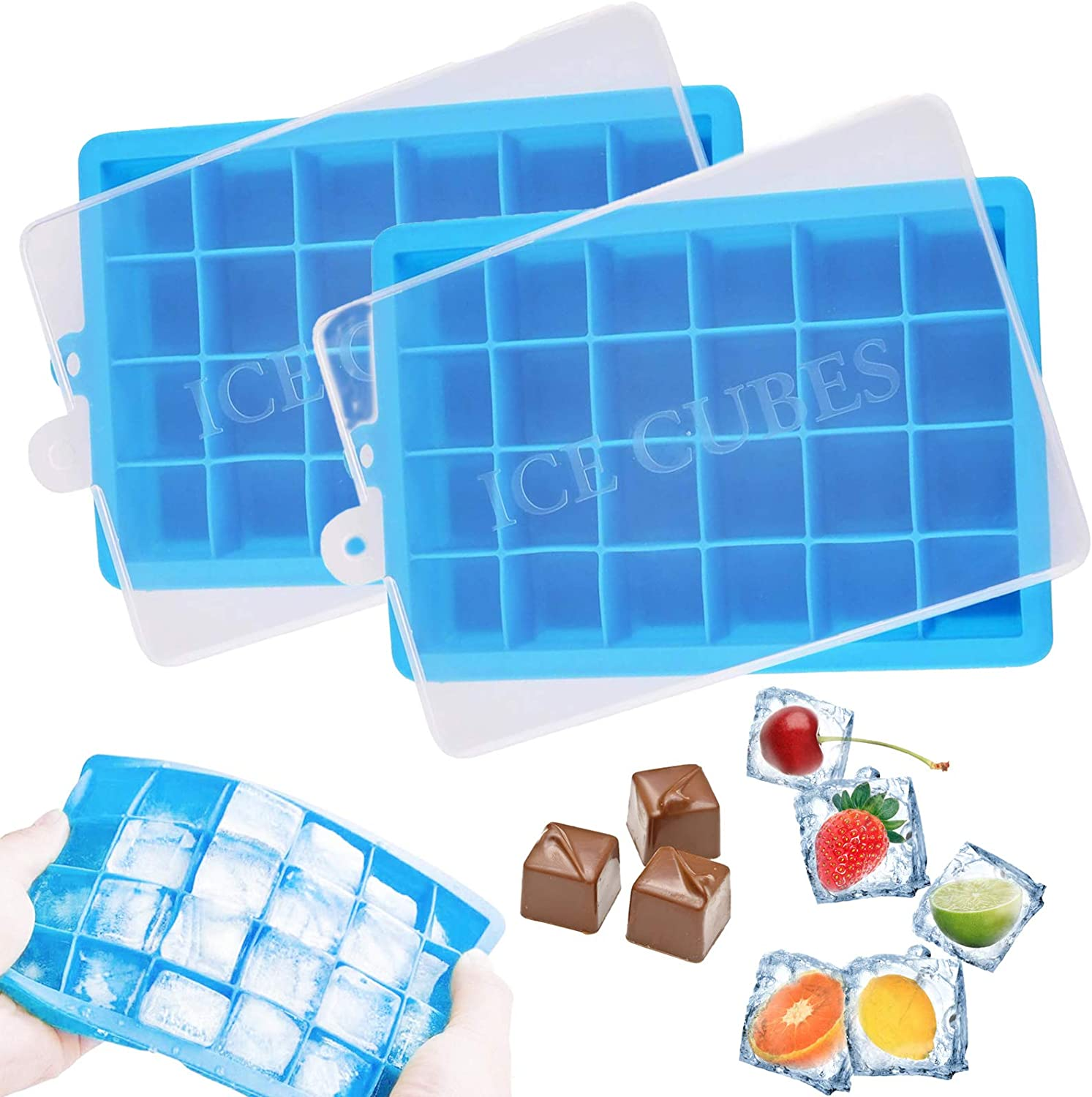 Ice Cube Trays 2 PCS Silicone Ice Cube Molds with Removable Lids Easy Release Flexible 48 Square Ice Pop Molds BPA Free for Chilled Drinks Whiskey Cocktail Food Stackable Reusable & Dishwasher Safe