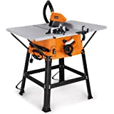 """VonHaus 1800W 10"""" (250mm) Table Saw with 5500rpm Underframe - Circular Mitre Function – High Spec with Attachable Table Sides – Make Longitudinal & Angle Cuts with Carbide-Tipped Saw Blade Fixable"""