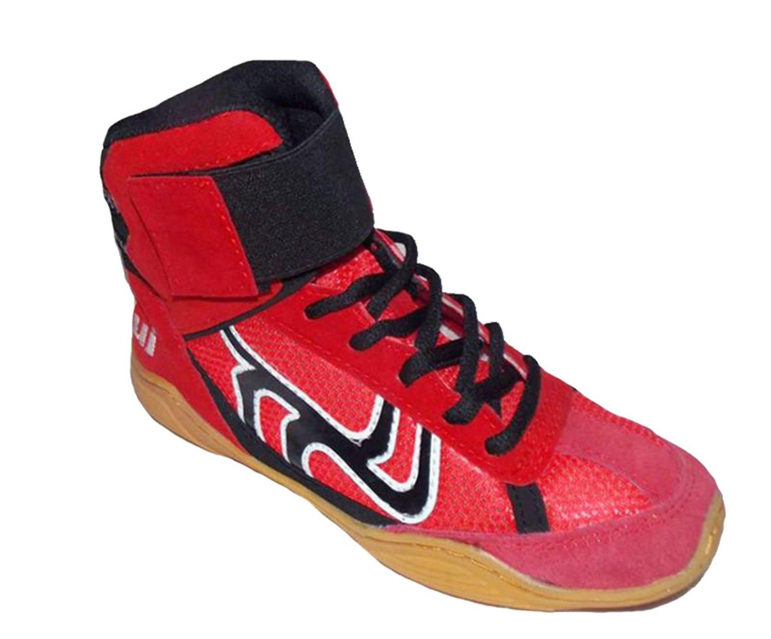Wrestling Shoes Boxing Boots Rubber Sole Combat Training Shoes for Men&Women&Children Kids B07DB5FVDP 6.5 D(M) US|Red-black Shoe Lace