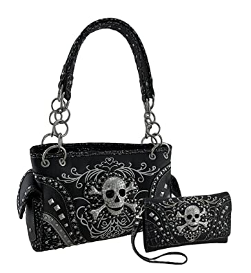 43bb071377 Rhinestone Skull Metallic Trim Concealed Carry Purse Wallet Set Black