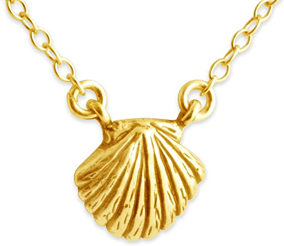 18 Azaggi Gold Plated Sterling Silver Handcrafted Sea Creature Small Seashell Pendant Necklace