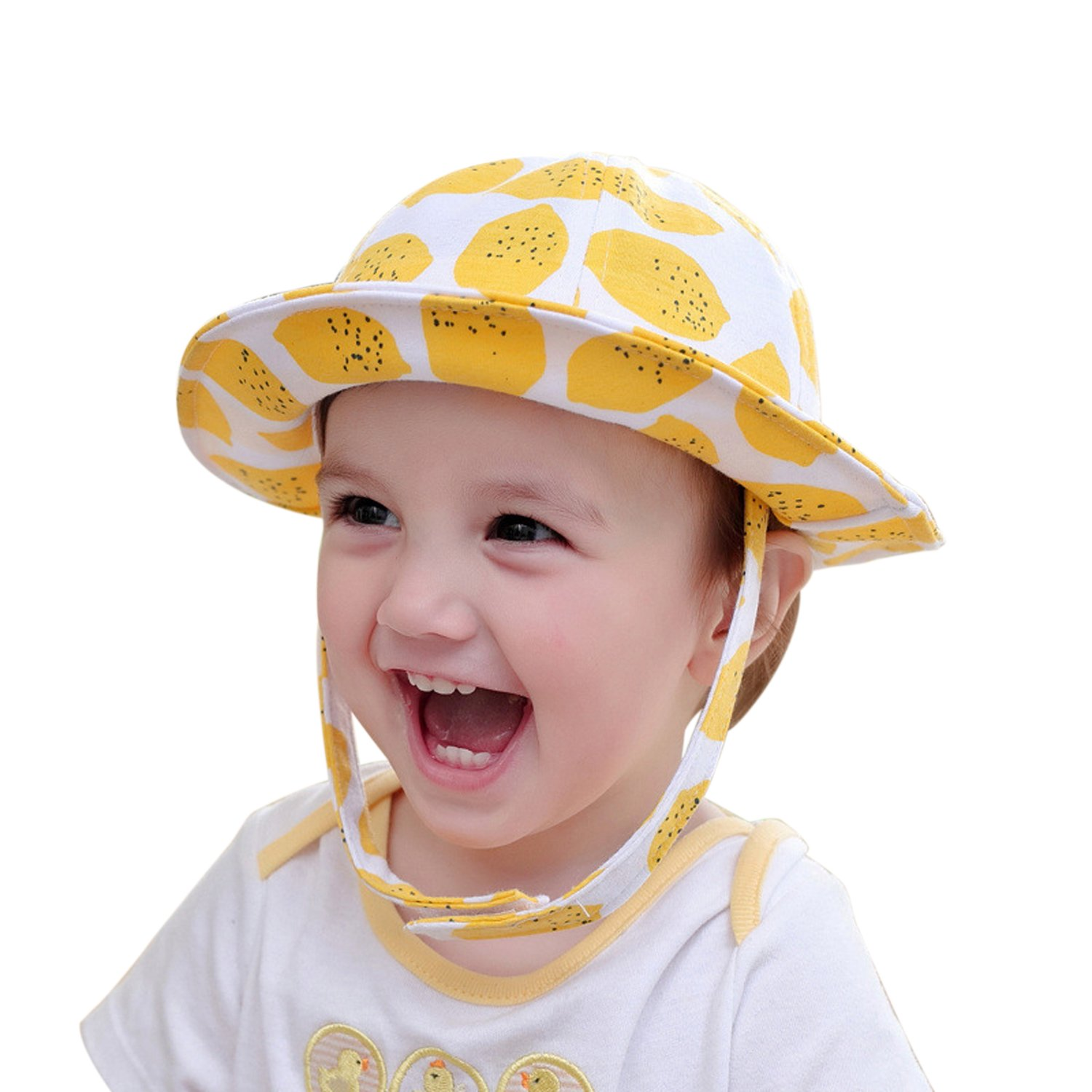 Amazon.com  Evelin LEE Baby Infant Lovely Floral Embroidered Floppy Wide  Brim Sun Cap Summer Outdoor Baby Girl Boy Sun Beach Cotton Hat-Style 1  Yellow  ... 2f5912baf0c7