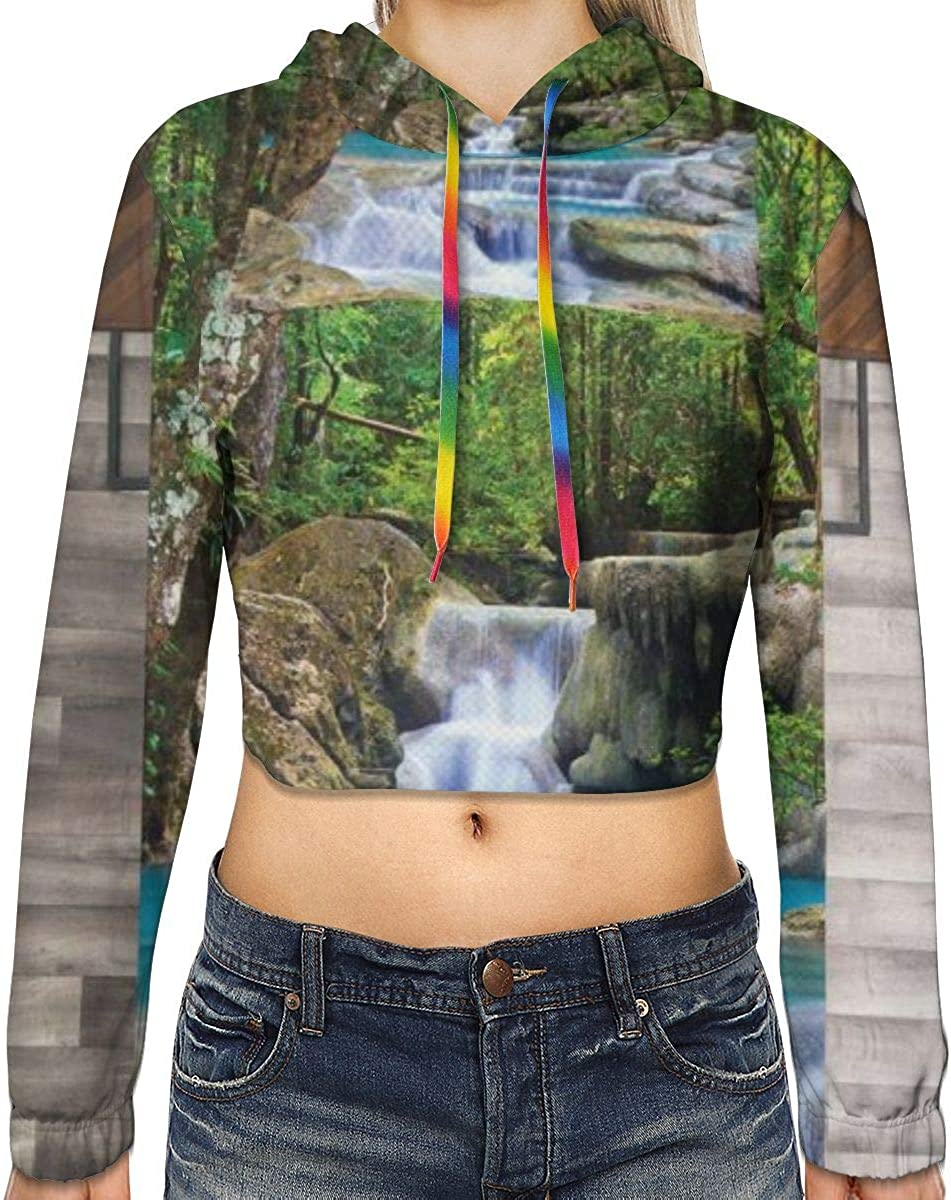 Womens Cropped Hoodie,Fairy Image of Asian Waterfall by The Rocks in Forest Secret Paradise,S-XL