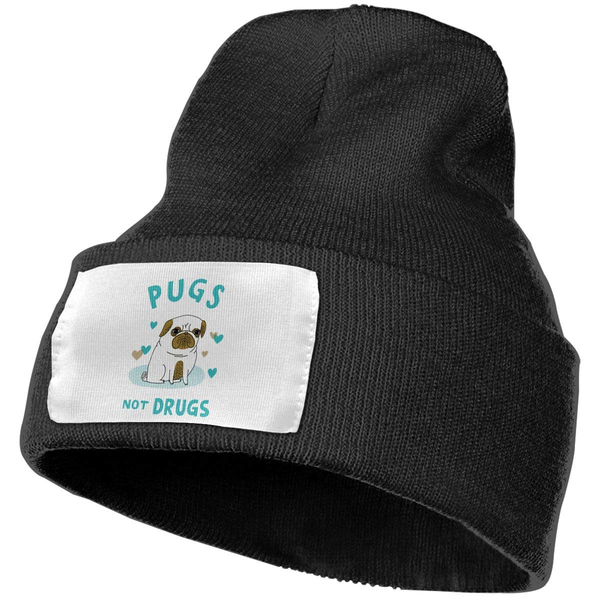 Pugs Not Drugs Cute Pug Wool Hat Women//Men Soft Stretch Knit Beanie Hat Winter Warm Skull Cap