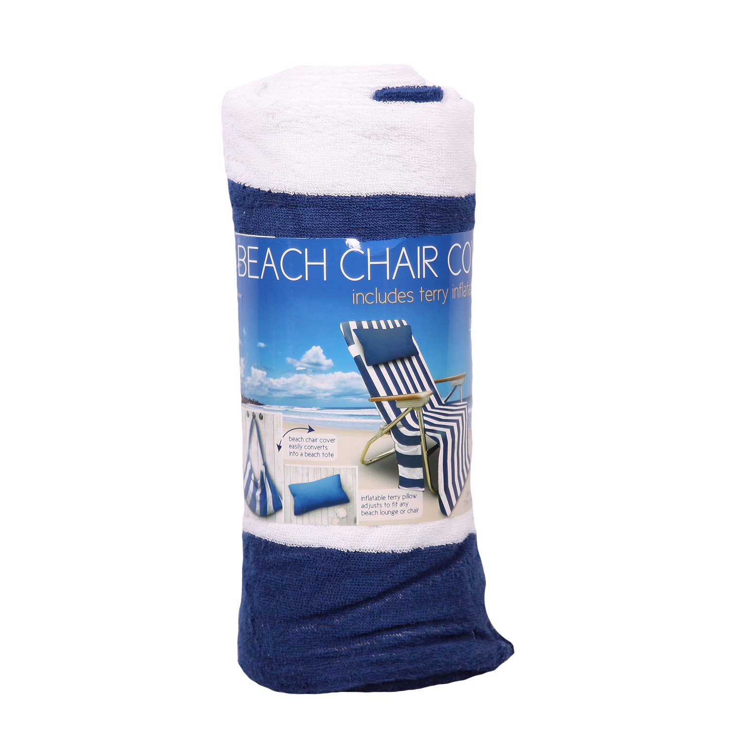 Amazing Amazon.com : 100% Cotton Terry Beach Chair Cover With Inflatable Terry  Pillow   Blue U0026 White Stripes : Patio Chaise Lounge Covers : Garden U0026  Outdoor