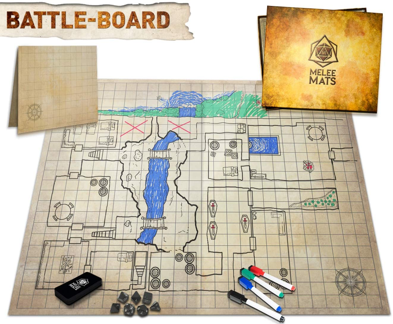 The Original Battle Grid Game Board - 23x27 - Dungeons and Dragons Set - Dry Erase Square & Hex RPG Miniatures Mat - DnD 5th Edition Table Top Role Playing Dice Map - D&D Wizards of the Coast