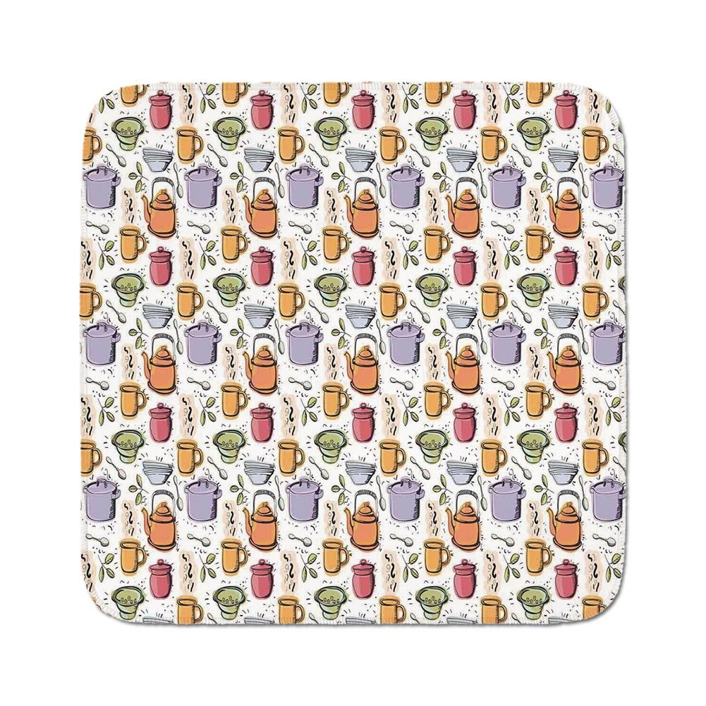 Cozy Seat Protector Pads Cushion Area Rug,Kitchen Decor,Vintage Kitchenware Pot Mug Spoon Jar Utensil Pattern Cafe Home Retro Decor,White Purple Orange Red,Easy to Use on Any Surface