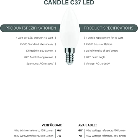 NuLoXx LED Candle C35 6W//840 4000K 470lm neutralweiß E14 200°