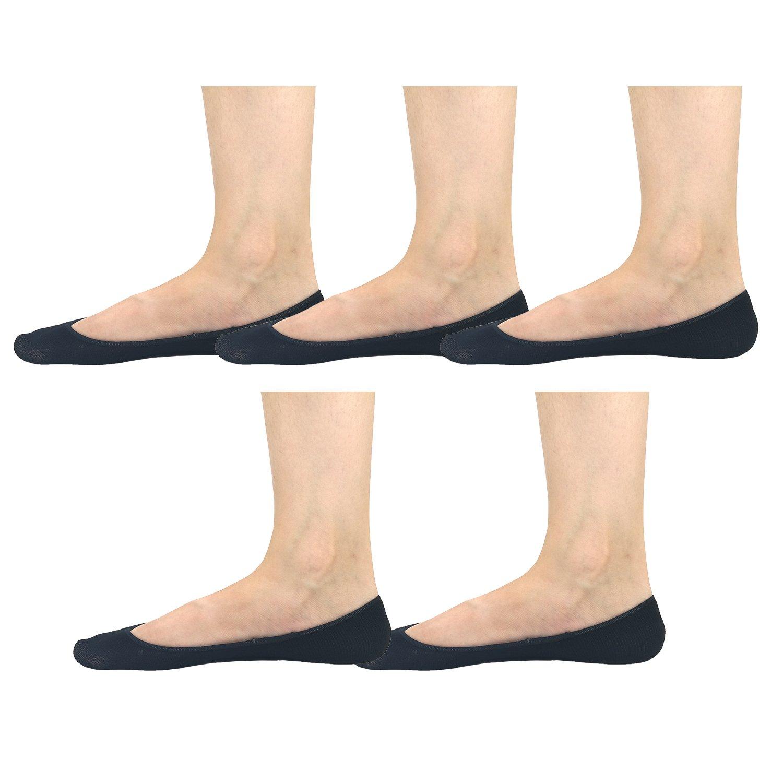 Women No Show Socks Cotton Liner Socks Non-Slip No Show Socks Bamboo Low Cut Boat Socks 5-Pairs